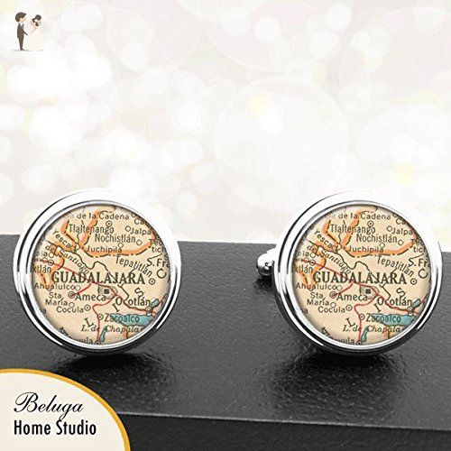 Map Cufflinks Guadalajara Mexico Map Cufflinks Handmade Cuff Links Antique Maps - Groom cufflinks and tie clips (*Amazon Partner-Link)