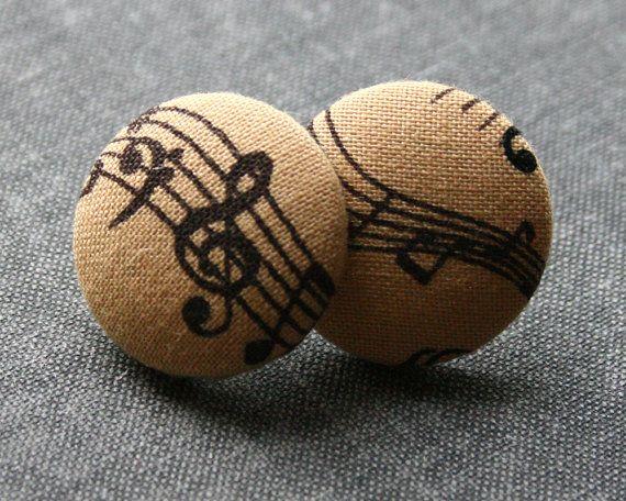 Musik Note Ohrringe, Taupe Ohrringe, Noten Ohrringe, Stoff bedeckt Taste Ohrringe, musikalische Taste Ohrringe, Musik-Hinweis-Ohrringe