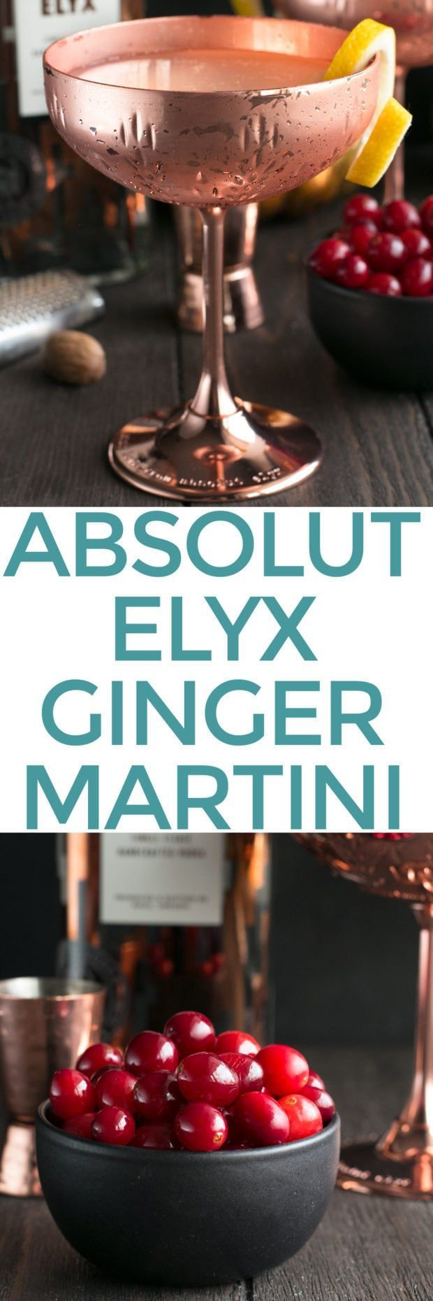 'Tis the season for holiday cocktails and an Absolut Elyx Ginger Martini with Drunken Cranberries is just the spicy, slightly sweet, and boozy drink you need to be whipping up. Garnished with cranberries soaked in brandy, this smooth cocktail brings festive cheer to any gathering! Absolut Elyx Ginger Martini with Drunken Cranberries | cakenknife.com #coppermakesitbetter #ad