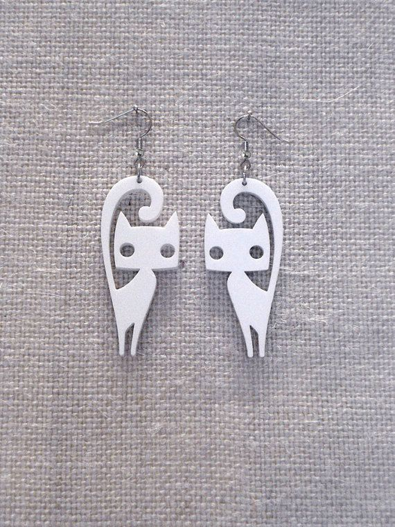 Cute cat earrings laser cut plexiglass Various by muchoshop