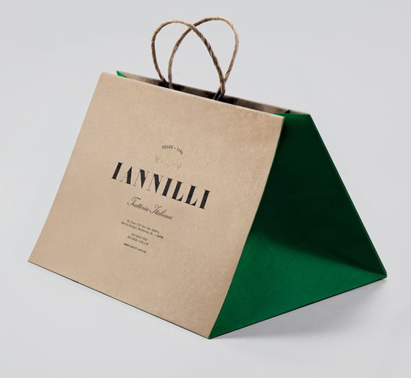 Logo and paper bag for Monterrey-based traditional Italian restaurant Iannilli designed by Savvy