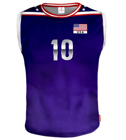USA Sleeveless Volleyball Jersey With Custom Name and Number