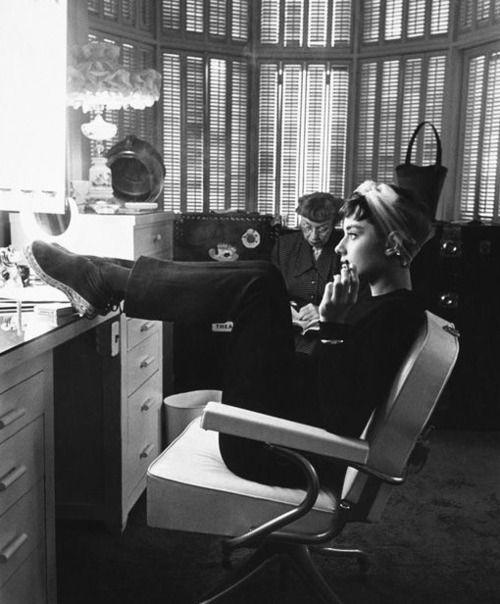 Audrey Hepburn in her dressing room.