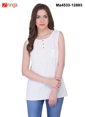 MAYLOZ E-COMMERCE-Women's Stylish  White  Color Georgette Top