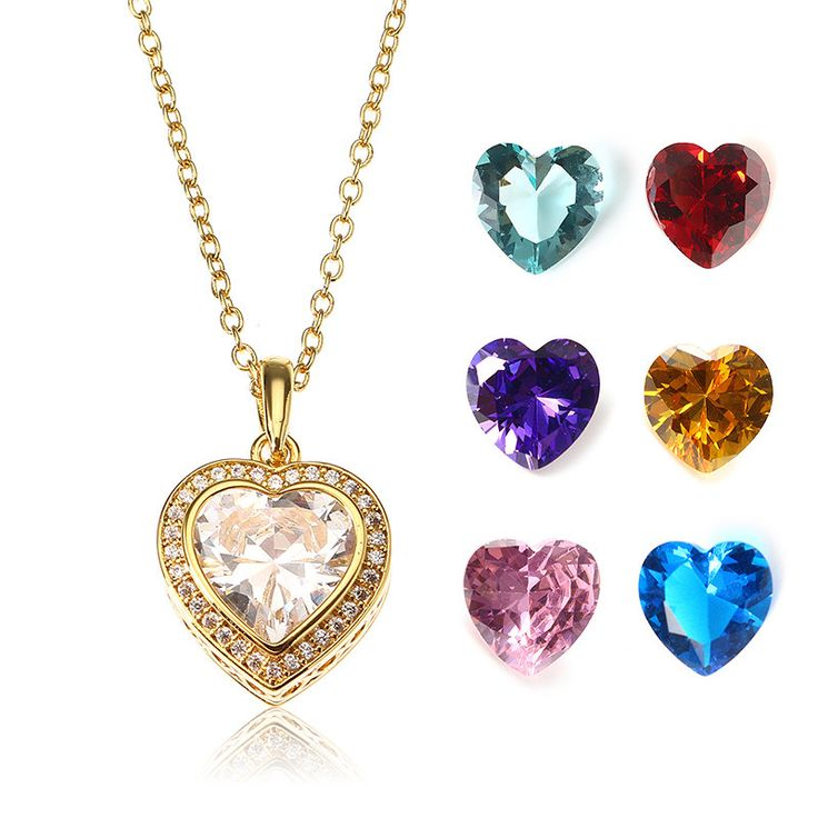 JASSY® Gold Plated Necklace with 7 Different Color Gemstone Open Heart Pendant Fine Women Jewelry