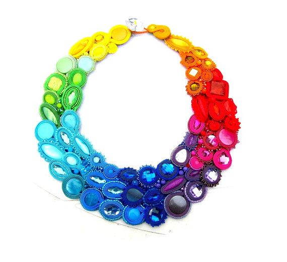 Rainbow Colorful Soutache Necklace Modern Collar by IncrediblesTN, $299.00