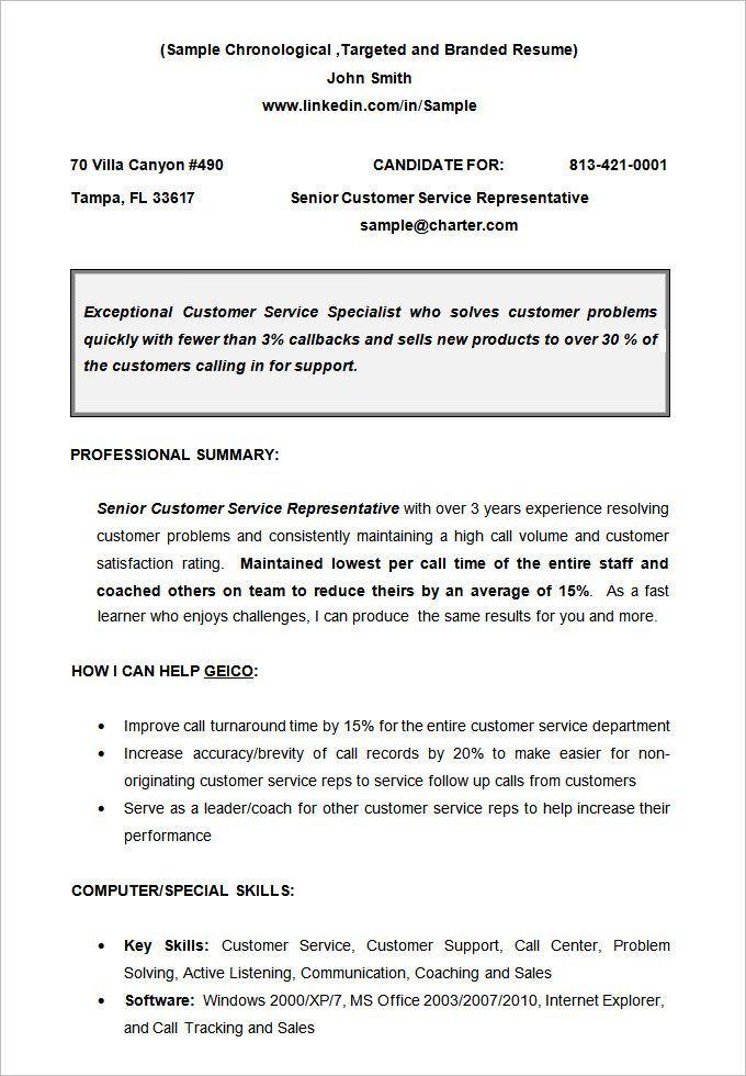 Resume Templates Non Chronological Chronological Resume