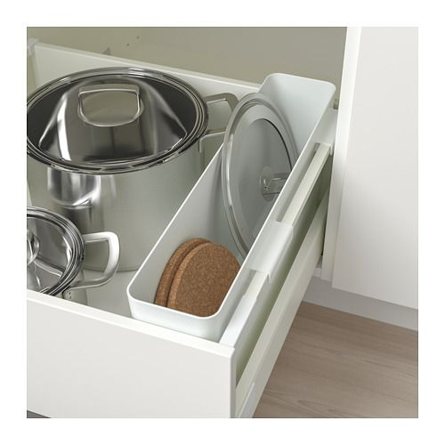 VARIERA Storage box IKEA Makes it easier to organize and find what you need in the drawer. Ideal for chopping boards, pot lids and baking paper.