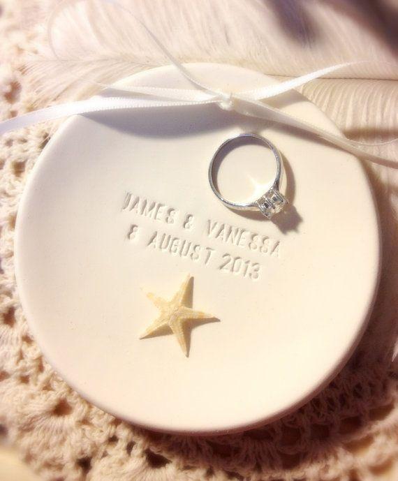 CUSTOM - Genuine Starfish Beach Wedding Ring Bearer Bowl , Ring Dish,Ring Holder, ring pillow alternative, beach wedding on Etsy, $36.00