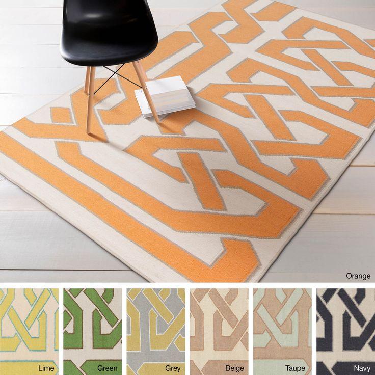 Hand-woven Ilkeston Reversible Wool Rug (5' x 8') (Green-(5' x 8')), Green, Size 5' x 8'