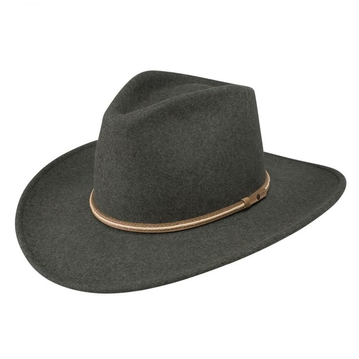 """Stetson Legend – Soft Wool Outback Hat $85.98   What a marvel! People wont be able to stop looking at you in the Stetson Legend. Made for the outdoor enthusiast this hat has a pinchfront crown, a 3 1/4"""" brim, and a brown leather band with cream overlay down the center."""