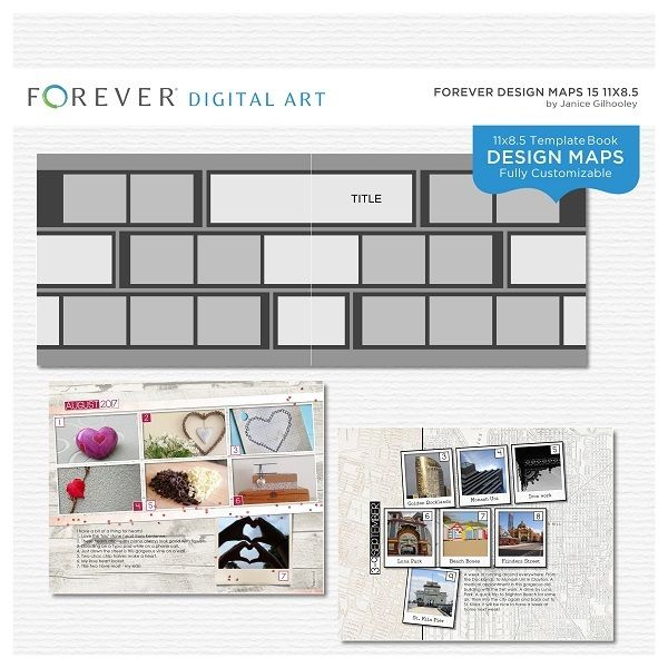 Forever Design Maps 15 11x8.5 This photo-ready Design Maps template is fully customizable for 11x8.5 pages. Includes 1 cover and 29 pages.  Contains: 29 templates 11x8.5 plus 1 cover template, all fully customizable.
