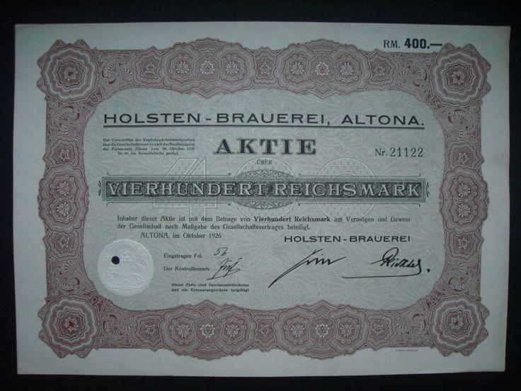 Aktie Holsten-Brauerei Altona (Hamburg) 400 RM 1926