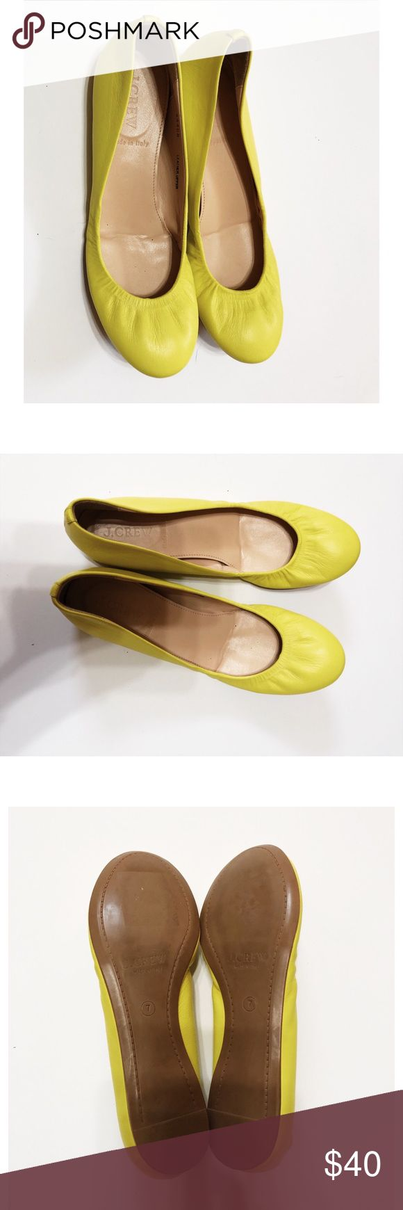 J. Crew | yellow ballet flats J. Crew yellow ballet flats! Spice up any outfit with these adorable flats! Made in Italy. Lightly used condition. Pictures show any signs of wear.  Bundle up! Offers welcome :) J. Crew Shoes Flats & Loafers