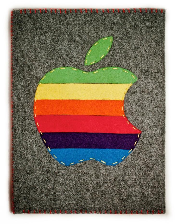 Vintage Rainbow Apple iPad 1 2 3 Red And Grey Felt Case Retro Logo. zł130.00, via Etsy.