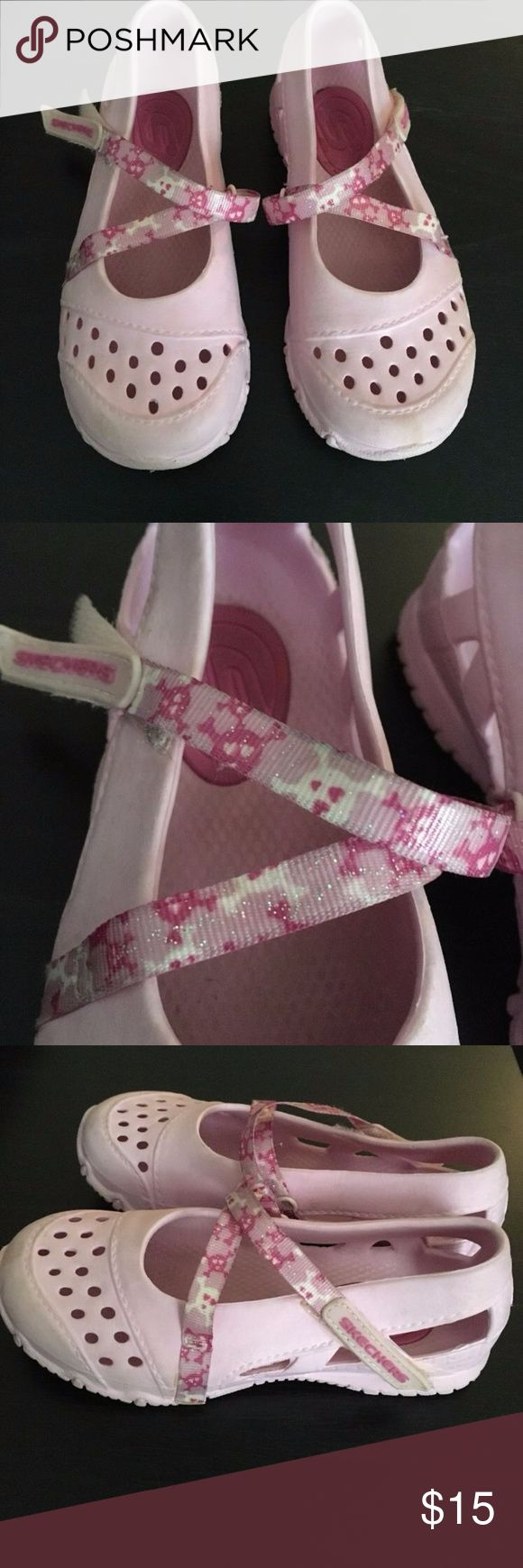 Maryjane Sketchers With Skull Straps Little Girls Pink Maryjane Sketchers With Skull Straps Size 10 Sketchers Shoes Slippers
