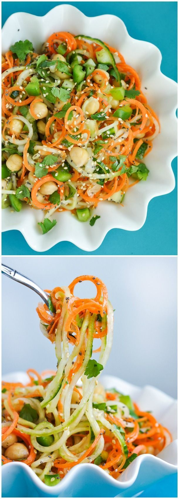 Healthy Spiralized Sweet + Sour Thai Cucumber Salad with Carrots, Chickpeas & Cilantro :: You'll flip over this flavorful salad!