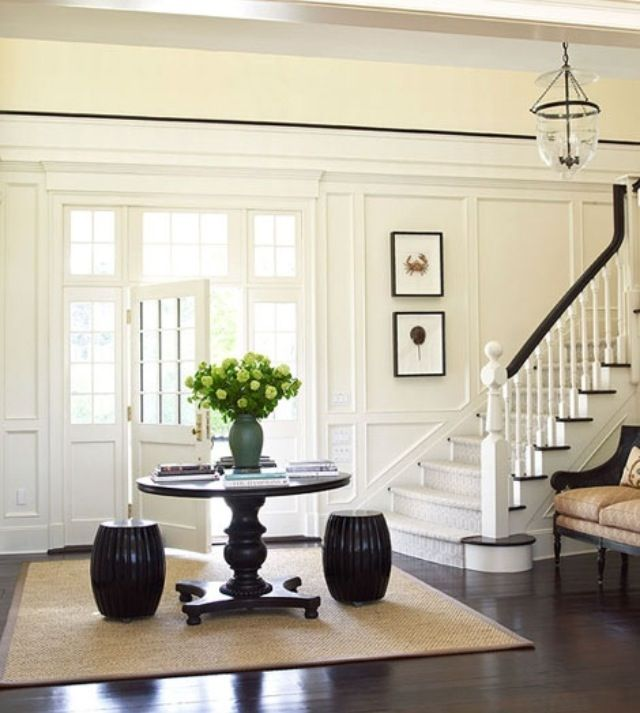 Front Foyer Round Table : Wainscoting walls hallway remodel home sweet