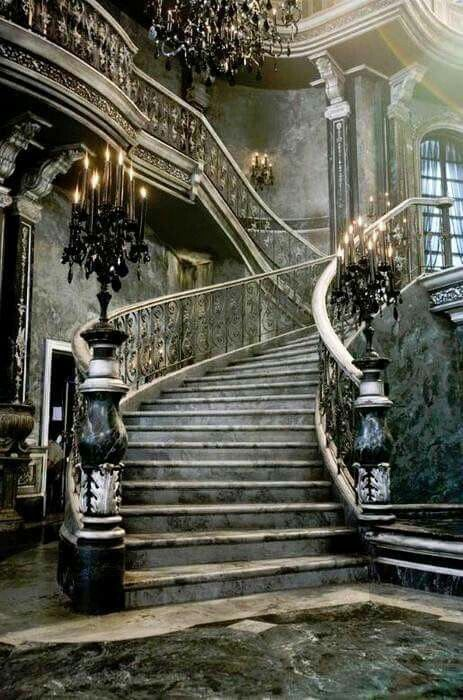 old abandoned estate with grand staircase