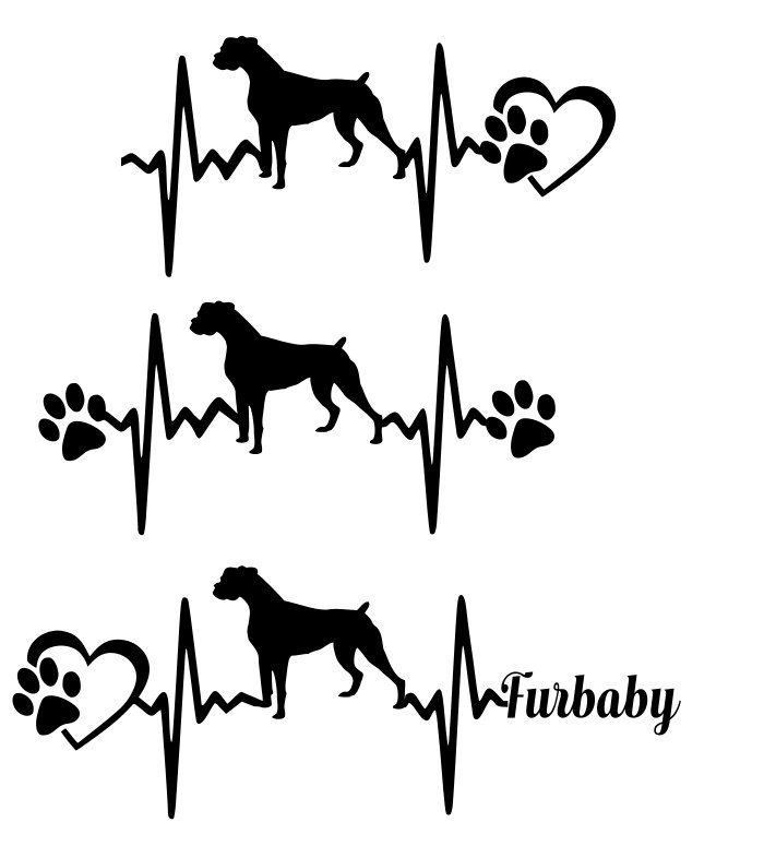 SVG Cut File boxer - Heartbeat paw with heart - Scrapbook,  Tshirt Tote…