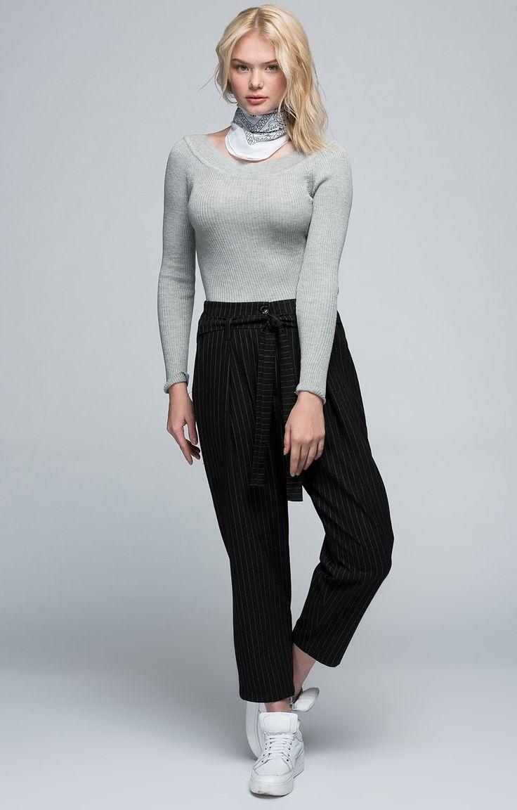 Siyah | Çizgili Pantolon