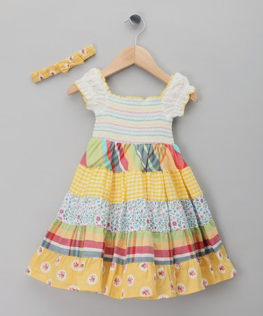 Take a look at this Yellow & Red Plaid Peasant Dress & Headband - Infant & Toddler by Cutey Couture on #zulily today!