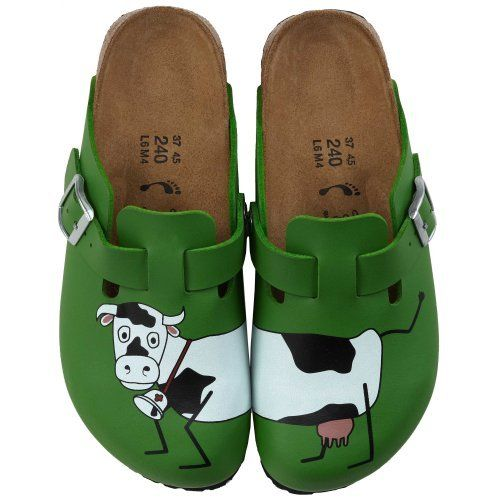 Birkis clogs Woodby from Birko-Flor in Cow Green Background with a narrow insole Birki's. $51.64. Birko-Flor