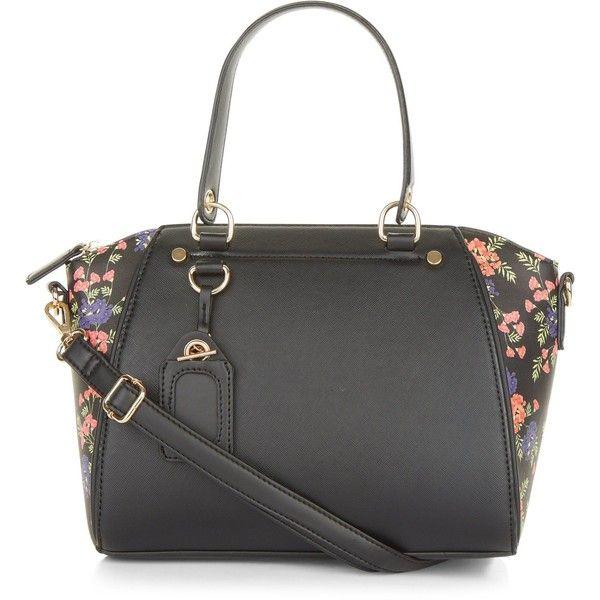 New Look Black Floral Printed Side Mini Bowler Bag (€24) ❤ liked on Polyvore featuring bags, handbags, black pattern, vegan leather purses, vegan leather handbags, vegan handbags, bowler bag and bowler handbag