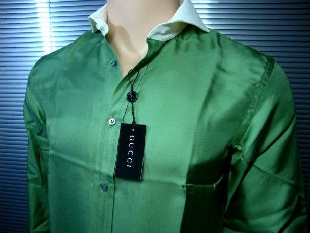 $879 GUCCI LUXURY FINEST SELECTION SHIRT (A134)  SILK 100% sz. 40 / 15.75