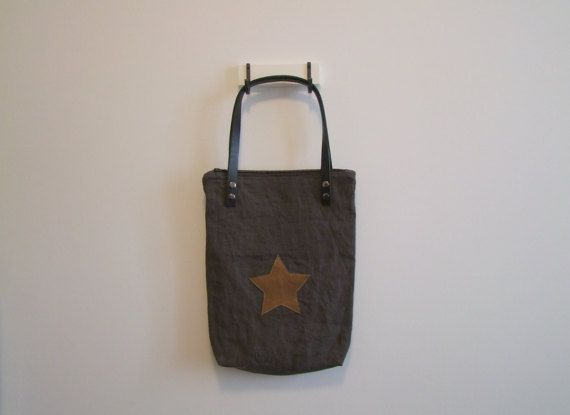 Brown linen bag bronze star shoulder bag with by ESKAmuhely
