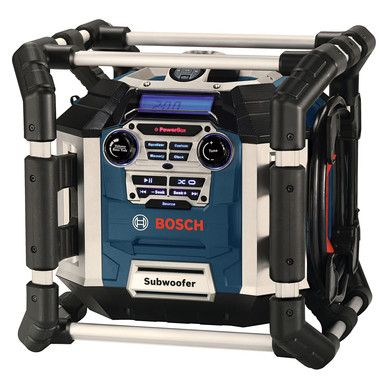Bosch PowerBox360 bouwradio. http://www.toolstation.nl/shop/Elektrisch+gereedschap/d40/Bouwradio%27s/sd2729/Bosch+PowerBox360+bouwradio/p30625