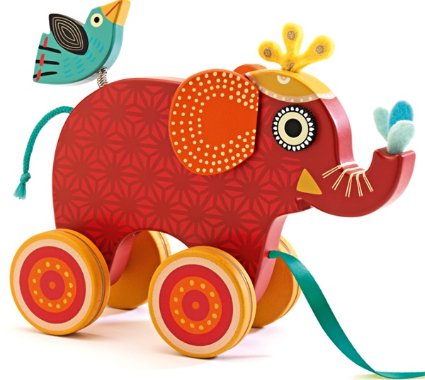Indy Elephant Wood Pull-Along Toy