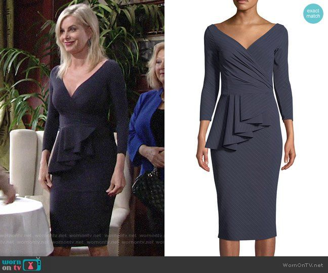da287443e2b Ashley s navy v-neck peplum dress on The Young and the Restless. Outfit  Details