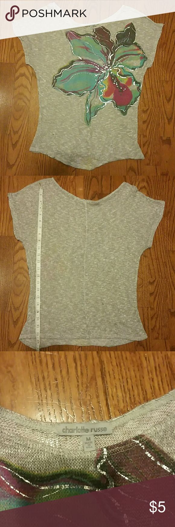 Cute tops Bundled cute tops, gently used good condition.   Black and white stripped - Papaya brand  Gray floral sweater - Charlotte Rouse - polyester, rayon and spandex Tops