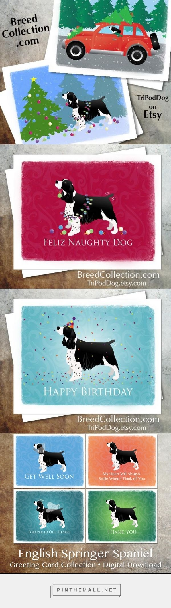 ❤ Black English Springer Spaniel Dog Christmas Cards from the Breed Collection - Also available.... Birthday, Thank You, Thinking of You, Get Well Soon, Pet Loss Sympathy - Digital Download Printable - on Etsy