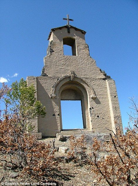 The facade of St. Aloysius Catholic Church in ghost town of Morley, Colorado