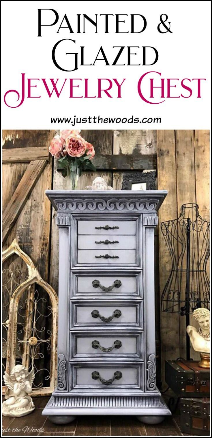 Painted jewelry chest in a weathered gray, gustavian style finish for that soft french country and shabby chic look. via @justthewoods