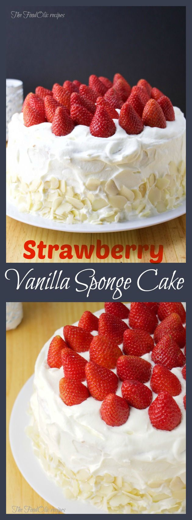 Strawberry sponge cake, with almonds. #cake #sweet #strawberry
