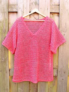 free crochet pattern for easy v'neck pullover tee