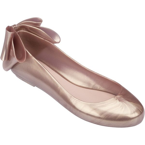 Melissa Space Love Gift Bow Rose Gold ($88) ❤ liked on Polyvore featuring shoes, flats, bow shoes, ballet shoes, bow ballerina flats, bow flats and ballet flats