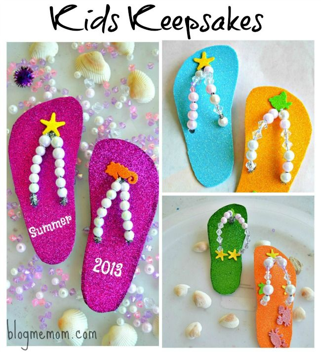 Kids Craft : Flip Flop keepsake craft -- By putting something more adult on them will make them look more grown-up, maybe an owl.