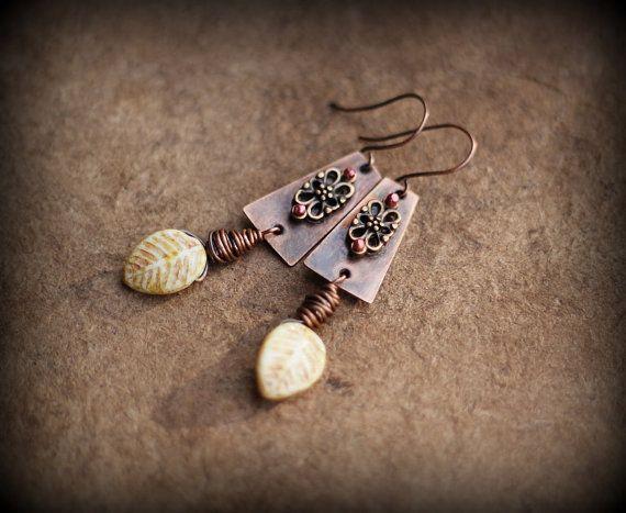Rustic Earrings Earth-Tone Ethnic Earrings Copper by Triballa