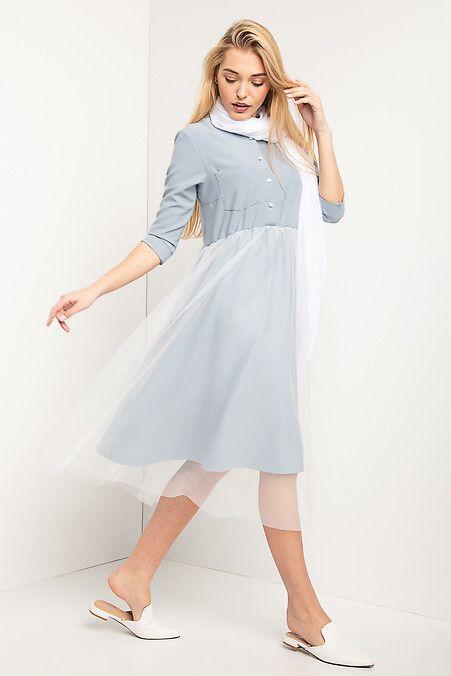 b697f6b102e Платье миди LETTI голубого цвета с юбкой из белого фатина Garne ...