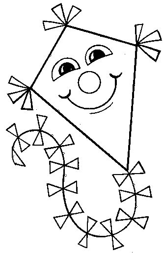 Cute kite coloring pages el summer things that fly for Cute summer coloring pages