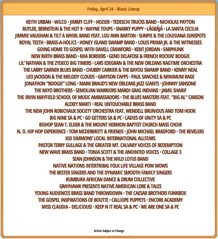 Fridayapril24-jf2-2015 (Jazz Fest Schedule 4-24-15 Friday)