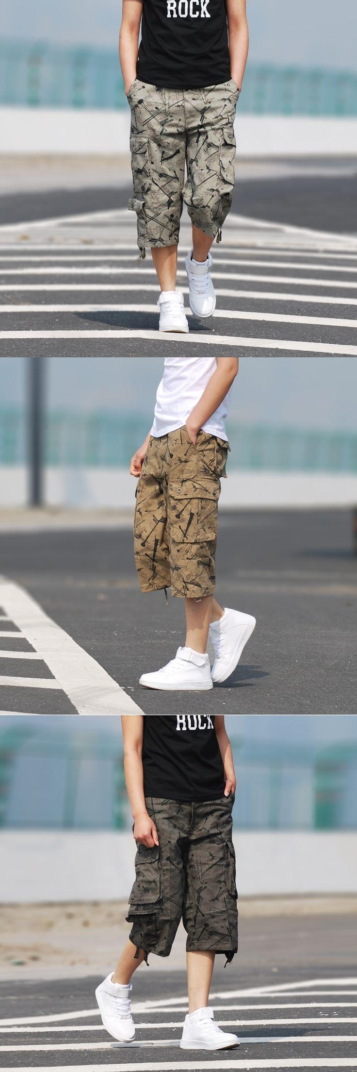 Hip pop Multi-pocket Green Cotton Khaki Big Size 30-42 Men's Cargo Shorts Casual