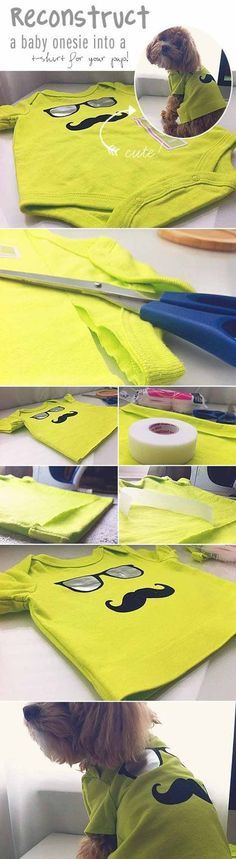 Check out 12 DIY Dog Clothes and Coats   Baby Onesie to Dog Shirt by DIY Ready at http://diyready.com/diy-dog-clothes-and-coats/: