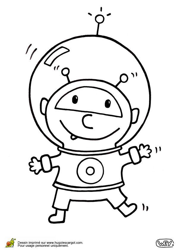 Cet extra-terrestre est tout content de mettre une tenue de cosmonaute, coloriage pour enfants