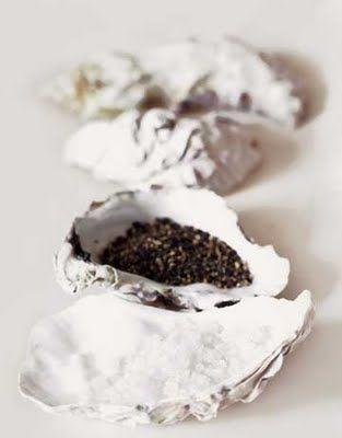 Oyster shells for salt & pepper