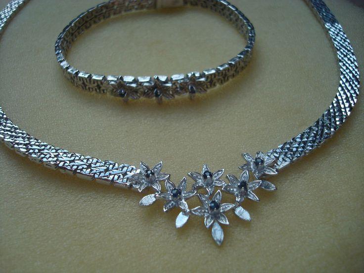 Klassisches Schmuckset Collier + Armband 835 Silber mit Saphir Art Nachlass